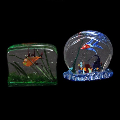 Murano Art Glass Aquarium Paperweights Including Aureliano Toso