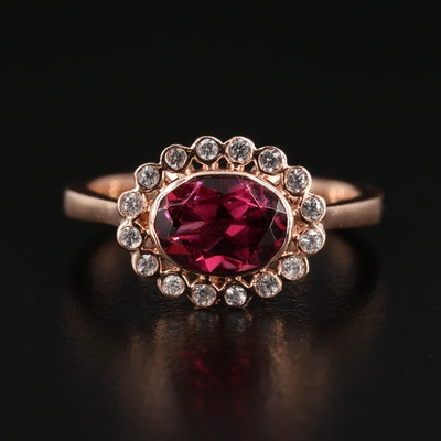10K Rose Gold Garnet and Cubic Zirconia Ring