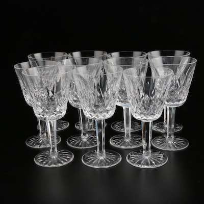 """Waterford Crystal """"Lismore"""" Claret Wine Glasses, Mid/Late 20th Century"""