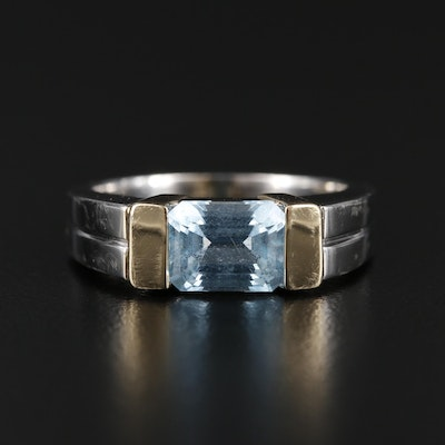 14K White and Yellow Gold Blue Topaz Ring