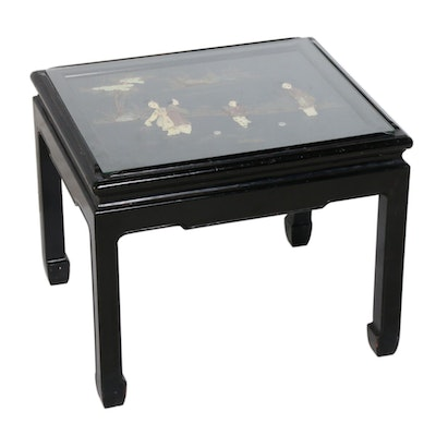 Chinese Hand-Painted Carved Gemstone Lacquer End Table, Mid to Late 20th Century