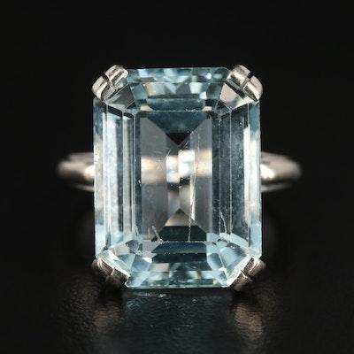 14K White Gold 12.95 CT Aquamarine Ring