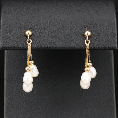 14K Yellow Gold Cultured Pearl Dangle Earrings