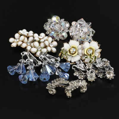 Assortment of Vintage Non Pierced Rhinestone and Enamel Earrings