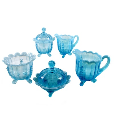 "Northwood ""Klondyke"" Blue Glass Creamers, Sugars, and Butter Dish"