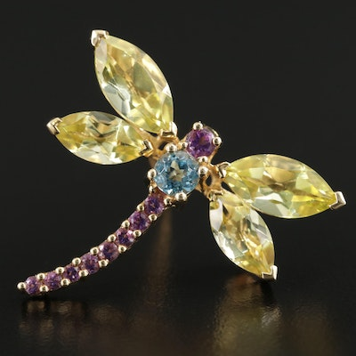 14K Dragonfly Converter Brooch with Amethyst, Blue Topaz and Citrine