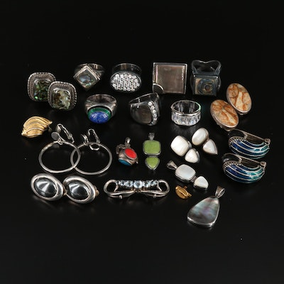 Assorted Jewelry Featuring Sterling Silver Abalone and Lapis Lazuli Rings