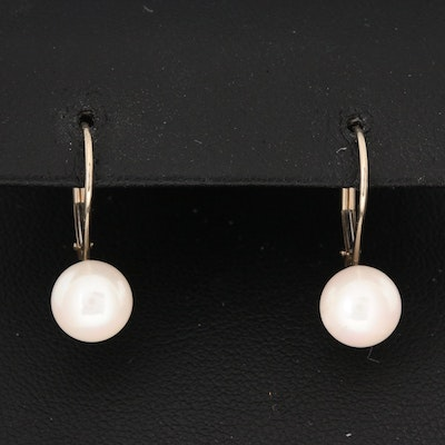 14K White Gold Cultured Pearl Drop Earrings