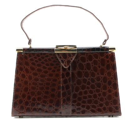 Vassar Alligator Skin Swagger Handbag, Vintage