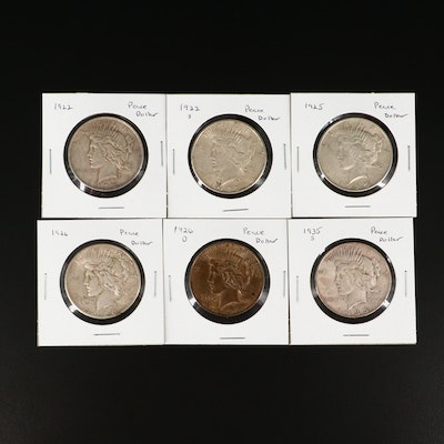 Six Silver Peace Dollars Including 1922, 1922-S, 1925, 1926, 1926-D, and 1935-S