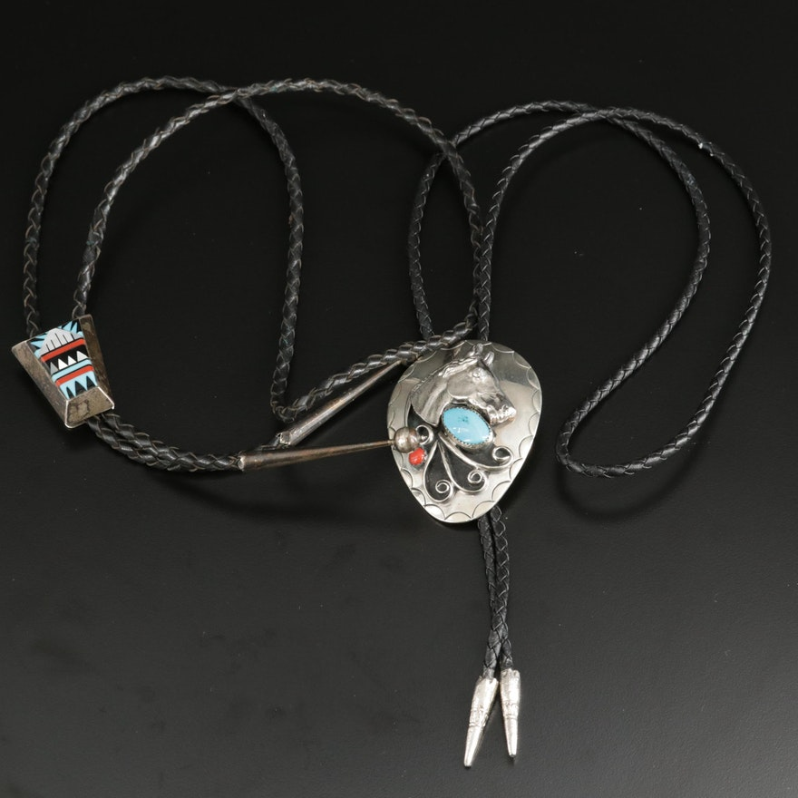 Sterling Inlay Gemstone Bolo Tie and Horse Bolo Tie