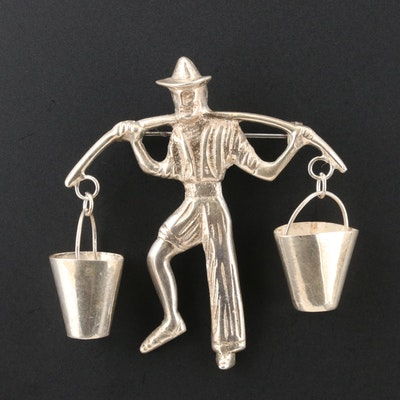 Sterling Silver Articulated Water Carrier Brooch