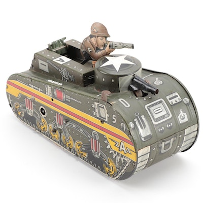 Marx Tin Lithograph Wind-Up Friction Toy Military Tank with Gunner, circa 1950s