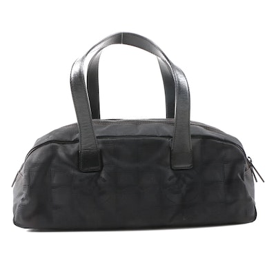 Chanel New Travel Line Bag in Black Nylon and Leather