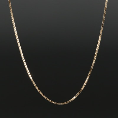 14K Yellow Gold Box Link Chain Necklace