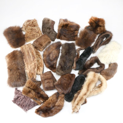 Scrap Fur Lot Including Beaver Fur, Marten Fur, Mink Fur, Rabbit Fur and More
