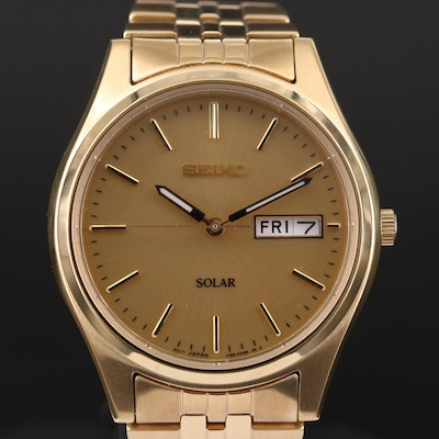 Seiko SNE036 Solar Day-Date Gold Tone Wristwatch
