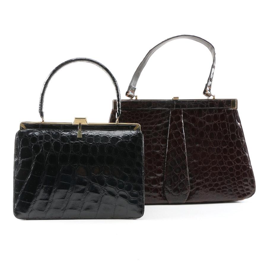 Alligator Skin Handbags Including Bellestone Bag, Mid-20th Century