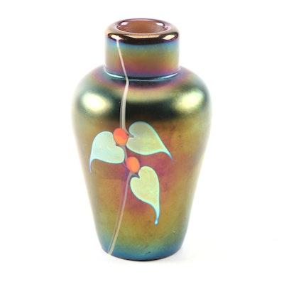 Stuart Abelman Art Glass Purple Iridescent Perfume Bottle