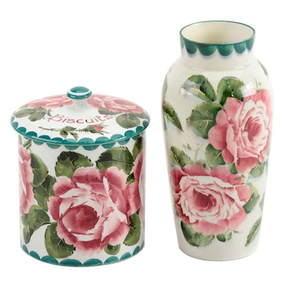 Wemyss Ware Cabbage Rose Ceramic Vase and Biscuit Jar, Early 20th Century