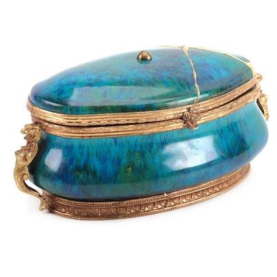"Henri Milet Gilt Flambé Porcelain Jewel Casket with ""New Kintsugi"" Repair"