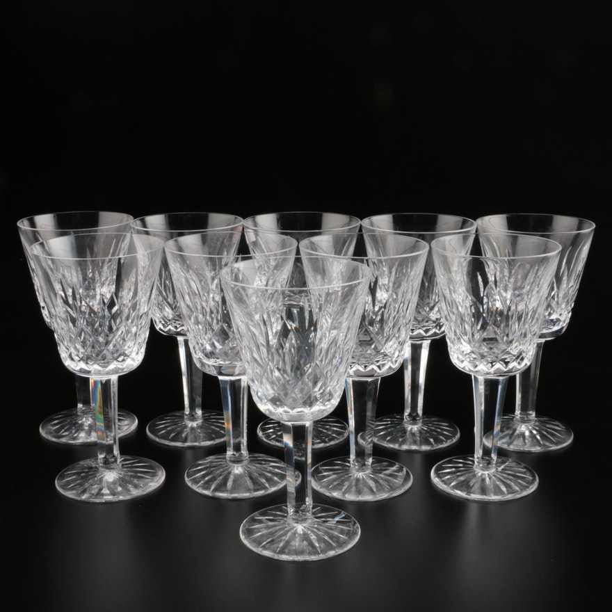 "Waterford Crystal ""Lismore"" Claret Wine Glasses, Mid/Late 20th Century"