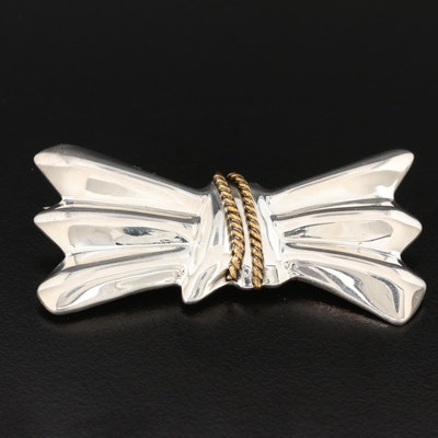 Mexican Sterling Silver Bow Brooch