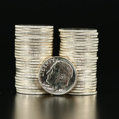 Roll of Fifty Uncirculated 1963 Silver Roosevelt Dimes