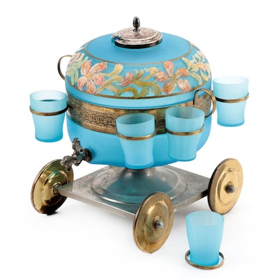 Painted Satin Glass Samovar Style Beverage Dispenser with Cups