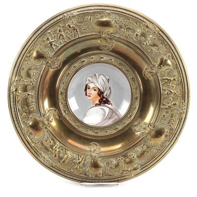 Dutch Baroque Brass Mounted Porcelain Portrait Plate