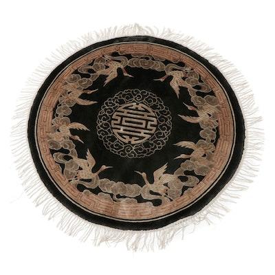 3'8 x 3'8 Hand-Knotted Chinese Peking Silk Round Rug