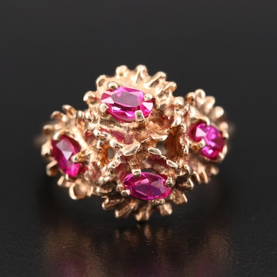 10K Yellow Gold Synthetic Ruby Ring