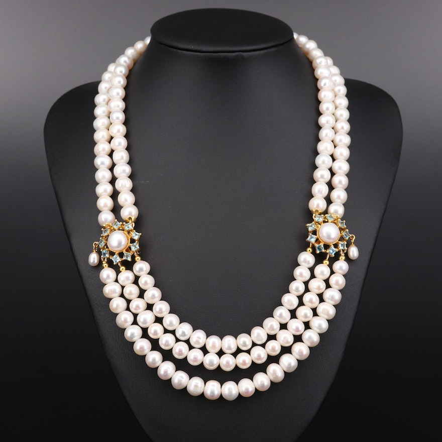 Sterling Silver Pearl and Blue Topaz Festoon Necklace