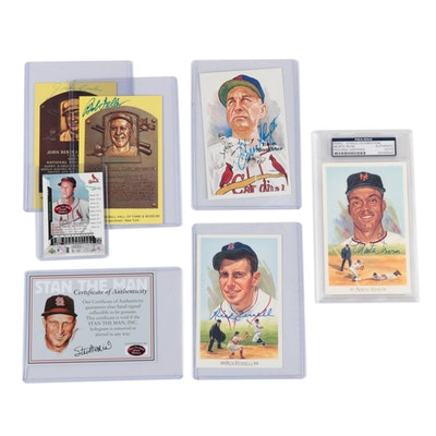 Musial, Irvin, Conlon, Slaughter, Feller, and Ferrell Autographed Cards