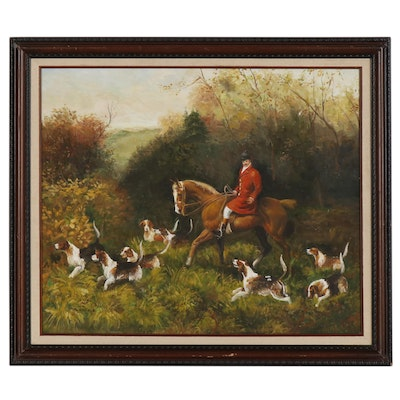 Hunting Genre Oil Painting, Late 20th Century