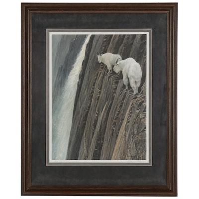 """Robert Bateman Offset Lithograph """"Sheer Drop - Mountain Goats"""""""
