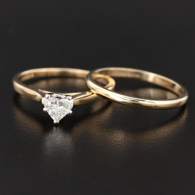 14K Yellow Gold 0.50 CT Diamond Heart Solitaire Ring and 10K Gold Band