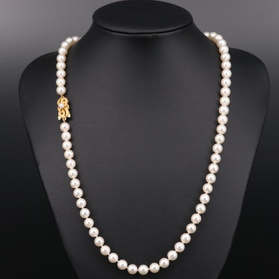 Mikimoto Pearl Necklace with 18K Yellow Gold Clasp
