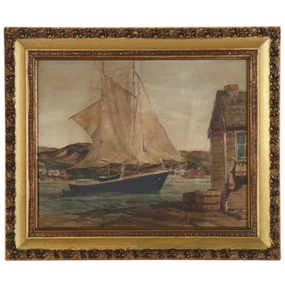 E. Littlefield Oil Painting of Harbor Scene with Sailboat