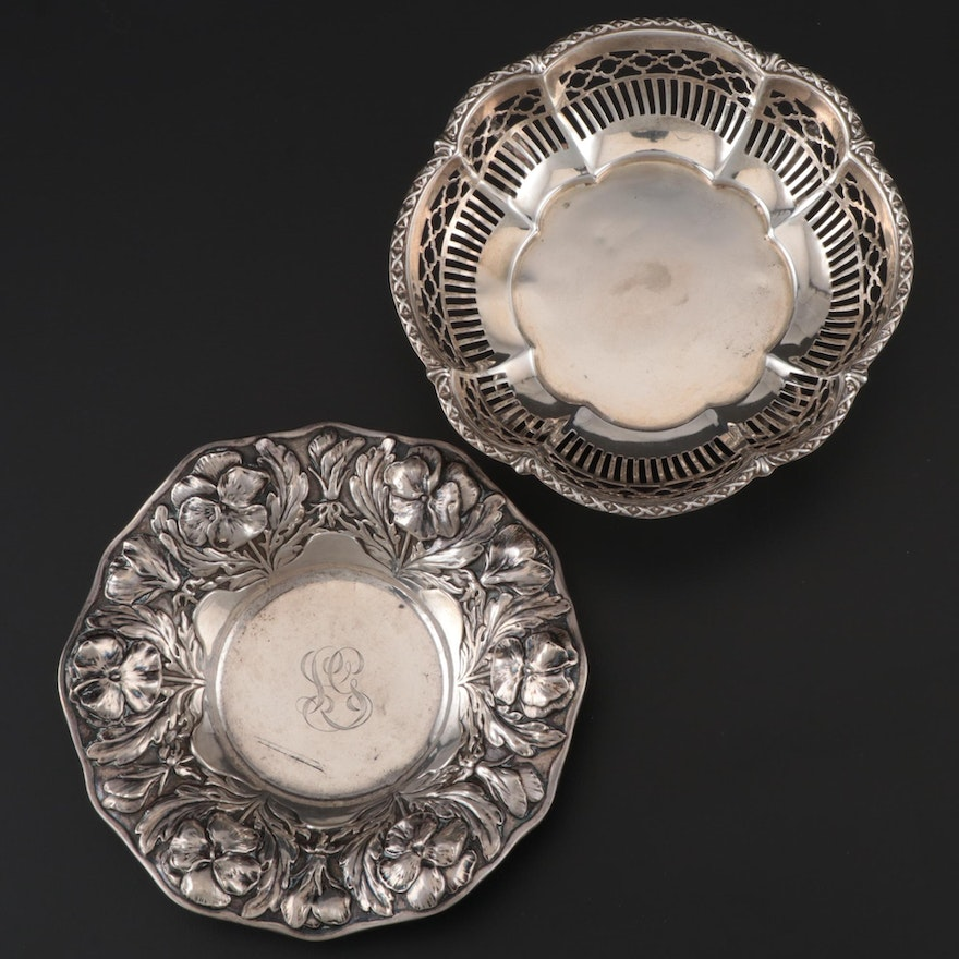 Gorham and Henry Matthews of Birmingham Sterling Silver Nut Bowls, 1906 and 1912