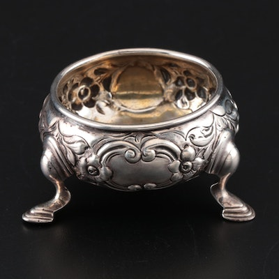 English Repoussé Sterling Silver Master Salt Cellar, 1817