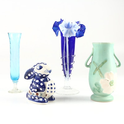 Weller Pottery Vase, Glass Vases, and Wiza Bolesławiec Pottery Rabbit