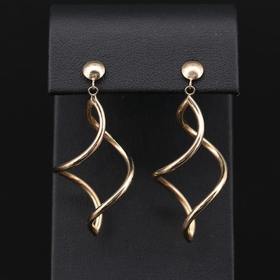 14K Yellow Gold Helical Drop Earrings