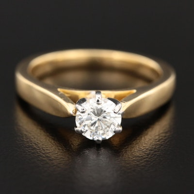 18K Yellow Gold 0.52 CT Diamond Solitaire Ring