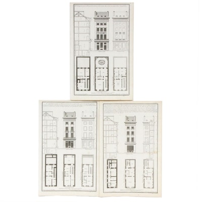 Jean-François de Neufforge French Architectural Engravings, Set of Three