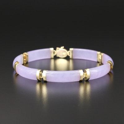 "14K Yellow Gold Carved Jadeite ""Good Fortune"" Panel Bracelet"