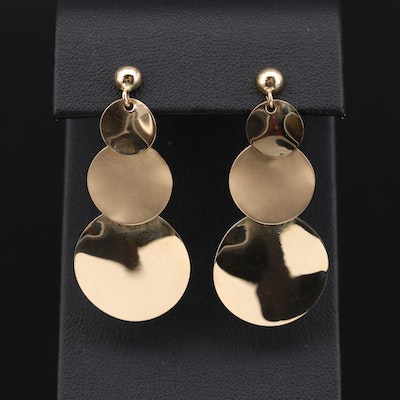 14K Yellow Gold Dangle Earrings with Satin Finish Accent