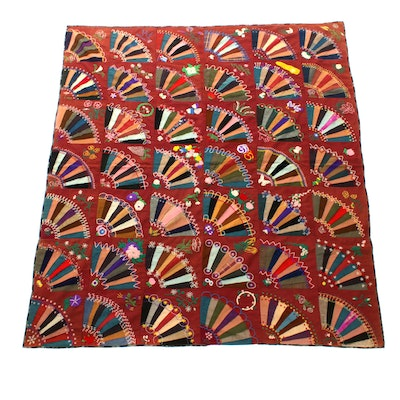 Late Victorian Era Handmade Embroidered Patchwork Throw