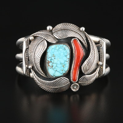 Southwestern Style Loren Begay Sterling Turquoise and Coral Cuff Bracelet