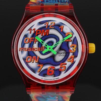 Vintage Swatch Musical Paulo Mendonca 11PM Quartz Alarm Wristwatch, 1995